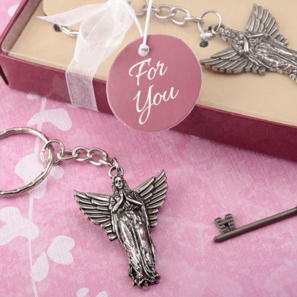 Guardian angel metal key chain
