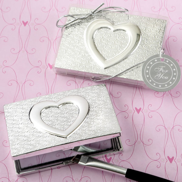 Heart themed shiny silver compact mirror