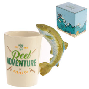 Collectable Leaping Fish Shaped Handle Ceramic Mug