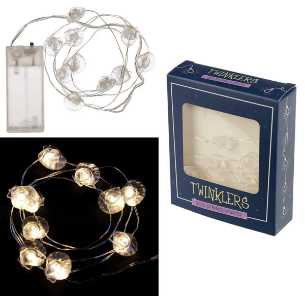Decorative LED Light String – White Shells