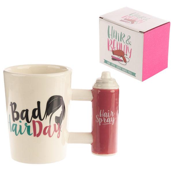 Fun Bad Hair Day Slogan Hair Spray Shaped Handle Ceramic Mug