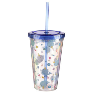 Funky Narwhal Double Walled Cup with Lid and Straw