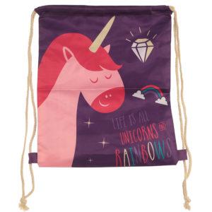 Handy Cotton Drawstring Bag - Rainbow Unicorn Slogan