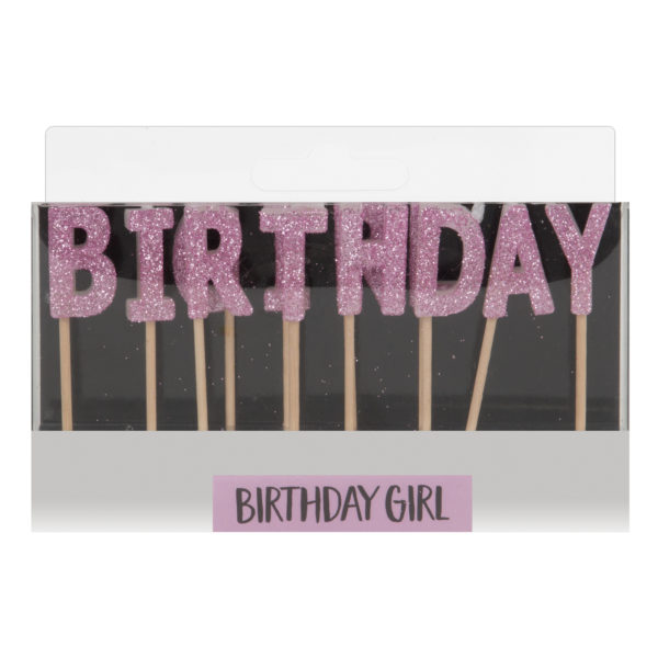 Celebrations Pink Letter Candles – Birthday Girl
