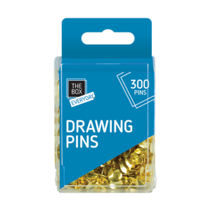 Drawing Pins - 300 PackThis pack of Drawing Pins contains three hundred pins that are constructed from sturdy metal and feature a domed head.  Ideal for use at home, at school or at the office.