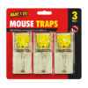Mouse Traps - 3 PackThis pack of Mouse Traps contains three individual traps that are made of strong, durable wood and complete with a spring loaded metal trapper.  The traps are highly effective at killing mice as quickly and humanely as possible, and are suitable for use both indoors or outdoors.
