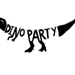 Banner Dinosaurs - Dino Party, 20x90 cmBanner Dinosaurs - Dino Party, made of black paper, do it yourself, set contains letters and approx. 2 m of twine, sizes after assembling: height approx. 20 cm, length approx. 90 cm