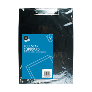 Black A4 Foolscap ClipboardThis Black A4 Foolscap clipboard features a pen holder, a nickle-plated steel clip and is complete with a clear PVC pocket.  Each clipboard is constructed from durable PVC and measures 32cm x 22.5cm.