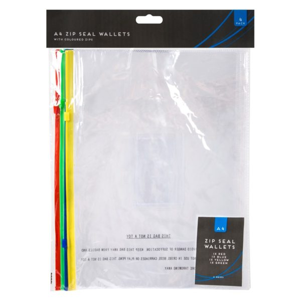 A4 Zip Seal Plastic Wallets – 4 Pack