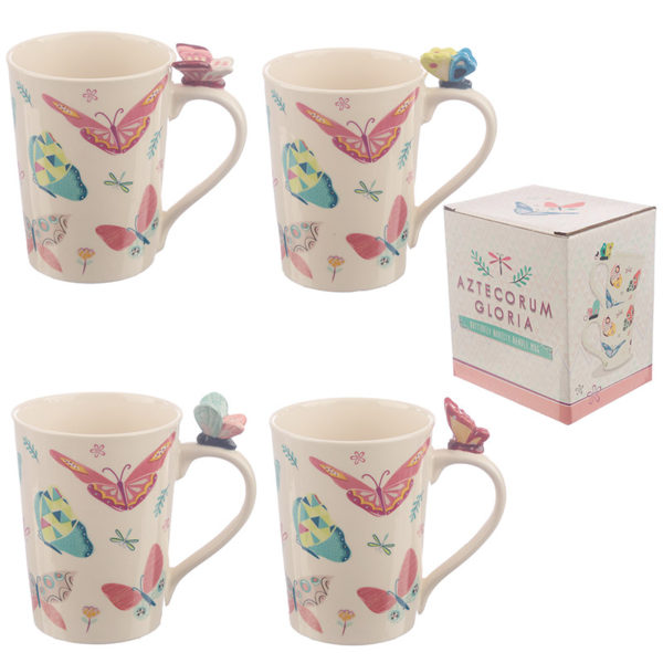 Collectable Butterfly Shaped Handle Ceramic Mug