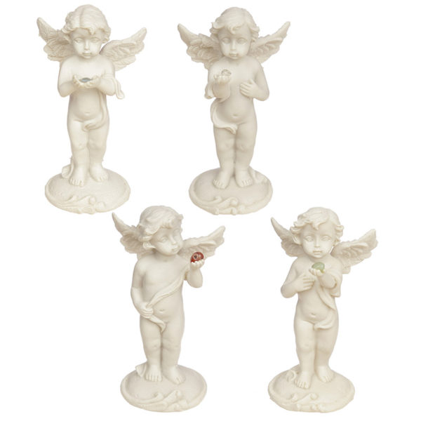 Collectable Cherub Standing Holding Mineral Stone