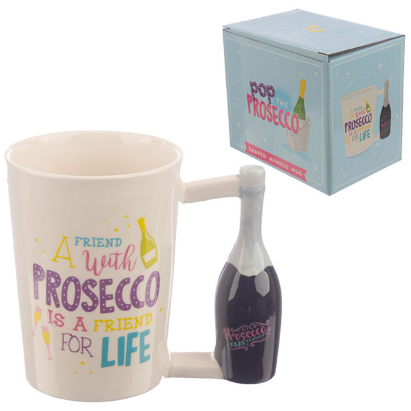 Collectable Prosecco Bottle Shaped Handle Ceramic Mug