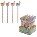 Cute Llama Design Pencil and Eraser Set
