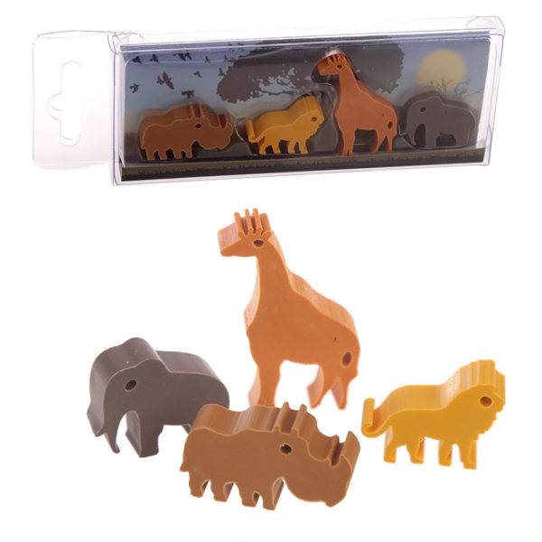 Cute Zoo Animals Eraser Set