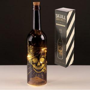 Decorative LED Bottle Light - Metallic Black and Gold Skulls