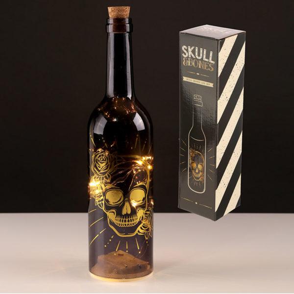 Decorative LED Bottle Light – Metallic Black and Gold Skulls