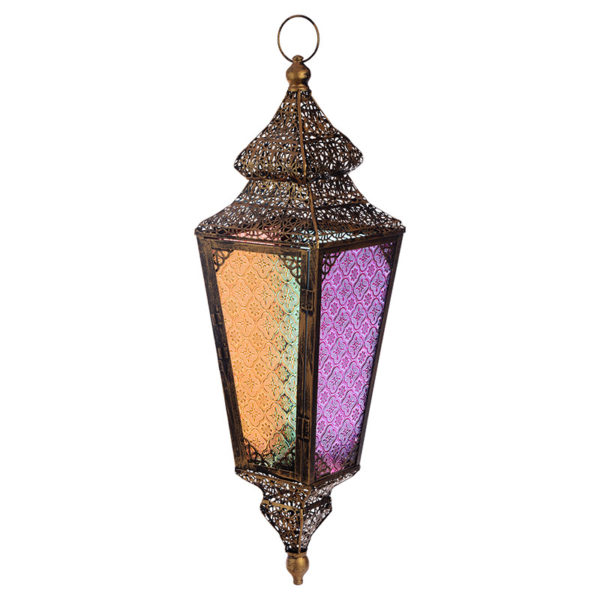 Pierced Fretwork Gold Glass Moroccan Style Hanging Lantern