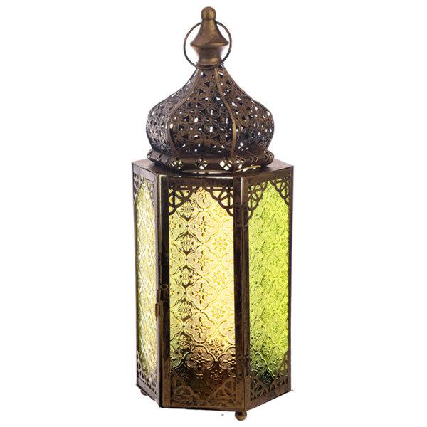 Pierced Gold Glass Moroccan Style Standing Lantern