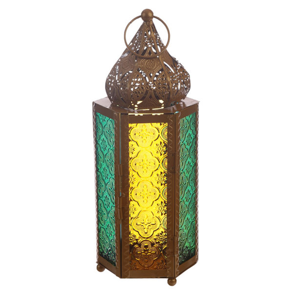 Pointed Gold Glass Moroccan Style Standing Lantern