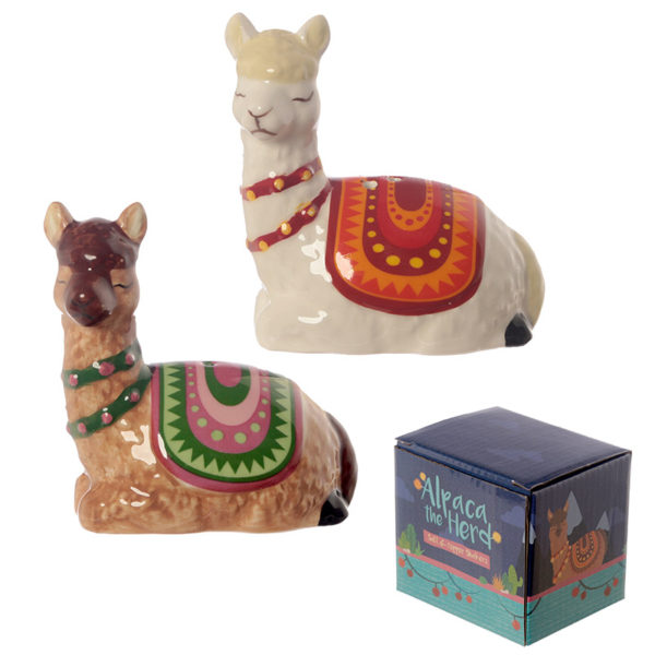 Fun Ceramic Alpaca Salt and Pepper Set