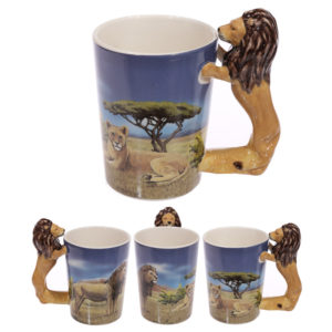 Novelty Ceramic Safari Mug with Standing Lion Handle