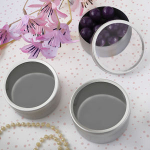 Matte Silver Mint TinsHere's a fresh idea...mint tins filled with surprises make ideal bridal shower party favors and more!   (Silver matte finish - round).