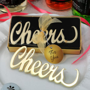 Metal cheers bottle opener with a gold finishMetal cheers bottle opener with a gold finish
