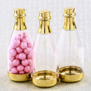 Perfectly plain gold accented clear champagne bottle containerPerfectly plain gold accented clear champagne bottle container