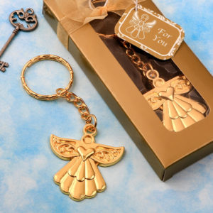 Angel themed gold metal key chainAngel themed gold metal key chain