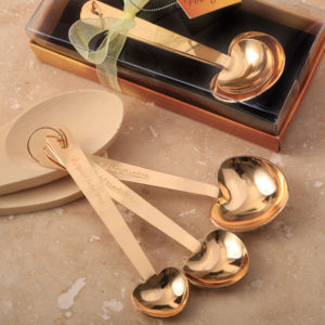 Love beyond measure set of 3 Gold stainless steel heart shaped measuring spoonsLove beyond measure set of 3 Gold stainless steel heart shaped measuring spoons