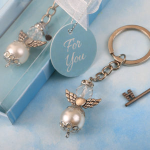Elegant angel themed pearl and crystal Key chain with silver accent angel wingsElegant angel themed pearl and crystal Key chain with silver accent angel wings