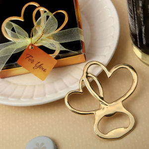 Metal double heart bottle opener with gold finishMetal double heart bottle opener with gold finish