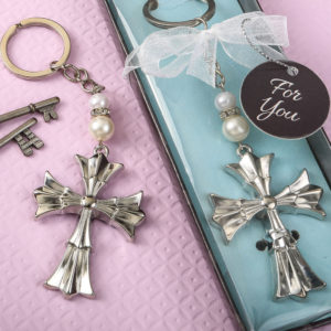 Ornate Flared cross keychain with a silver finishOrnate Flared cross keychain with a silver finish