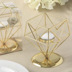 Gold geometric design tea light