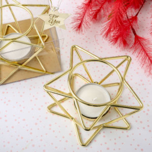 Celestial themed star shaped Gold wire tealight holderCelestial themed gifts touch the heart and inspire the mind! Our magnificent gold star-shaped tealight candle holders are the perfect choice. They will add a scintillating effect to your event tables and also make exquisite favors for guests to take home.