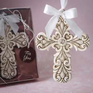 Baroque design Vintage Cross themed ornamentOffer your guests a stunning Baroque style vintage Cross to take home as a celebration of the Christian Faith and as a memento of your special event.