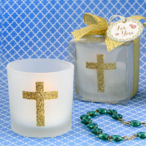 Cross themed white frosted glass candle votive holderThese stunning white frosted glass votive candle holders with a glorious sparkling gold Cross will bring the true spirit of the Christian Faith to your event tables!