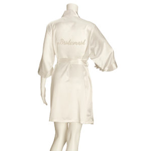 Ivory Bridesmaid Pure Satin Robe Kimono (S