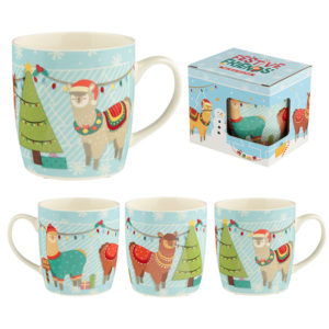 Christmas New Bone China Mug - Festive Friends Alpaca