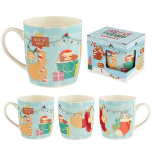 Christmas New Bone China Mug - Festive Friends Sloth