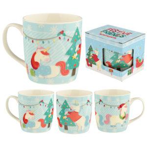 Christmas New Bone China Mug - Festive Friends Unicorn