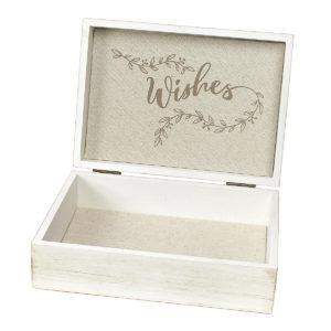 White Wooden Wedding Wishes BoxWhite Wooden Wishes Box