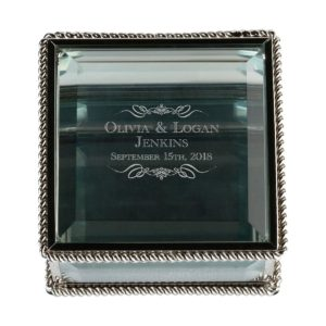 Personalised Silver Square Glass Ring BoxPersonalised Silver Square Glass Ring Box