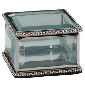 Silver Square Glass Ring BoxSilver Square Glass Ring Box
