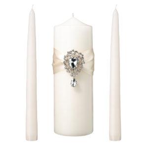 Jeweled Ivory Unity Candle Wedding Ceremony SetJeweled Ivory Unity Candle Wedding Ceremony Set