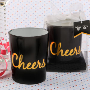 Cheers Candle from FashioncraftCheers is the universal word for celebration! Add a dramatic effect to your event tables with our new black and gold Cheers candles.