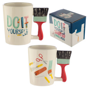 Ceramic DIY Paint Brush Shaped Handle Mug