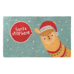 Coir Door Mat - Christmas Alpaca Slogan Design