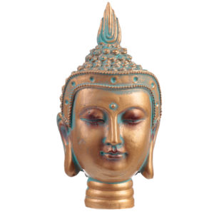 Decorative Copper  and  Verdigris Thai Buddha - Bust