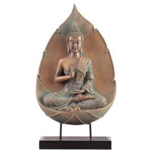 Decorative Copper  and  Verdigris Thai Buddha - Lotus Enlightenment